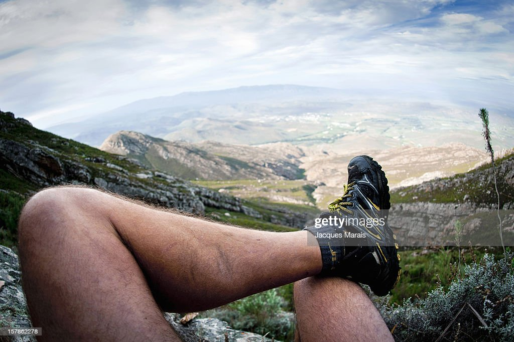 Personal perspective of man looking at landscape, Klein Karoo, Western Cape, South Africa : Stock Photo
