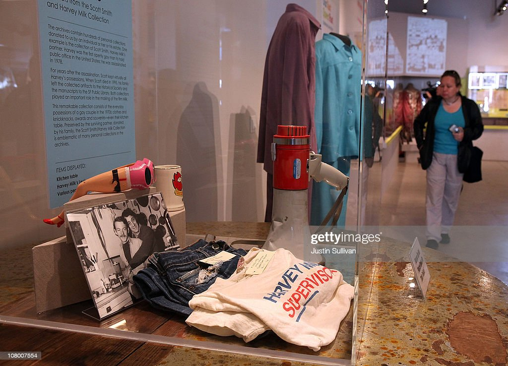 Personal possesions of the late San Francisco supervisor Harvey Milk are displayed during the grand opening of the Gay, Lesbian, Bisexual and Transgender History Museum on January 12, 2011 in San Francisco, California. The country's first gay history museum opened in San Francisco's Castro district today and features hundreds of items including Harvey Milk's megaphone, documents, a collection of sex toys and multimedia presentaions.