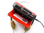 Vintage portable personal stereo tape cassette player from the eighties