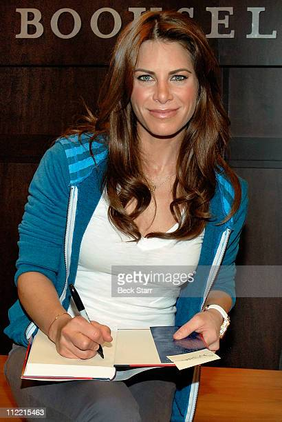 Personal trainer and fitness expert Jillian Michaels of 'The Biggest Looser' signs copies of her new book 'Unlimited' at Barnes Noble bookstore at...