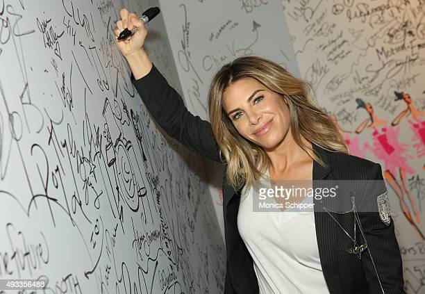 Personal trainer and TV personality Jillian Michaels signs the wall at AOL Studios when she visits for AOL Build Presents Jillian Michaels in New...