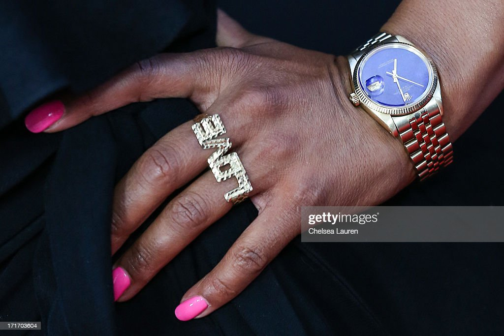 Personal Trainer Jeanette Jenkins (jewelry detail) arrives at the 'Kevin Hart: Let Me Explain' premiere at Regal Cinemas L.A. Live on June 27, 2013 in Los Angeles, California.