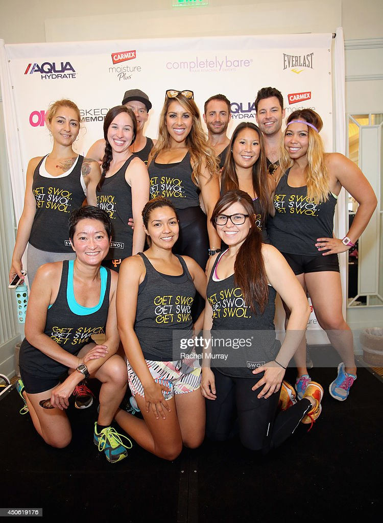 Personal trainer Melina Vlahos Christidis (C) of Get Swol and trainers from Get Swol attend OK! Body & Soul 2014 at The Casa Del Mar Hotel on June 14, 2014 in Santa Monica, California.