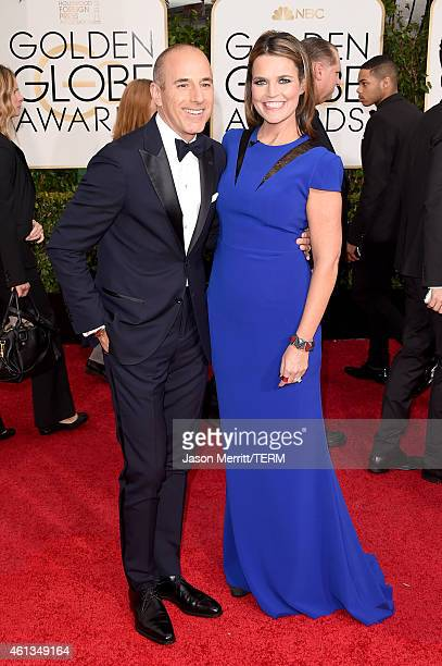 Personalites Matt Lauer and Savannah Guthrie attend the 72nd Annual Golden Globe Awards at The Beverly Hilton Hotel on January 11 2015 in Beverly...