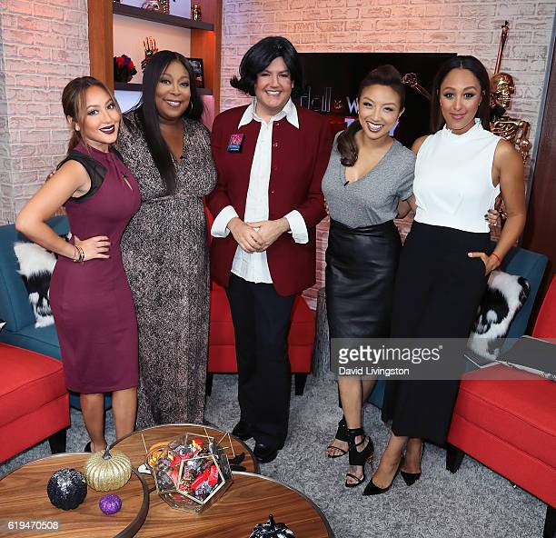 TV personalities Adrienne Bailon Loni Love Ross Mathews dressed as Rosie O'Donnell for Halloween Jeannie Mai and Tamera Mowry pose at Hollywood Today...