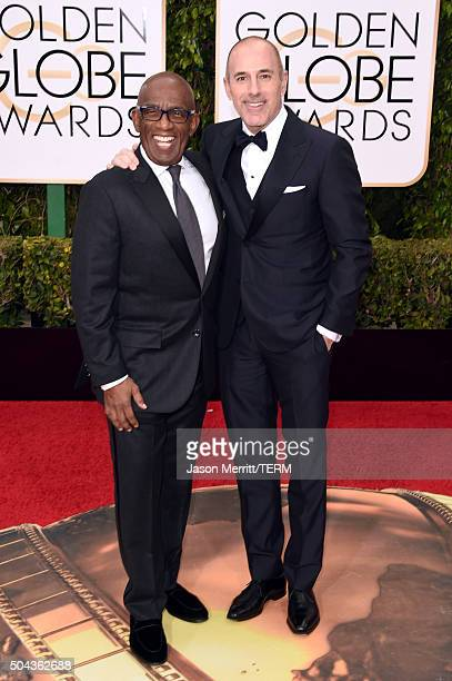 TV personalities Al Roker and Matt Lauer attend the 73rd Annual Golden Globe Awards held at the Beverly Hilton Hotel on January 10 2016 in Beverly...