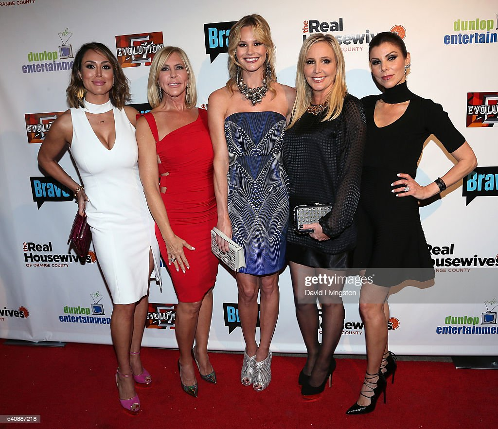 TV personalities and Season 11 cast members Kelly Dodd Vicki Gunvalson Meghan King Edmonds Shannon Beador and Heather Dubrow attend the premiere...