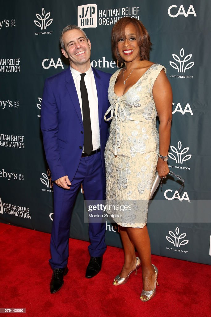 TV personalities Andy Cohen (L) and Gayle King attend The Sean Penn & Friends Haiti Takes Root Benefit Dinner & Auction Supporting J/P Haitian Relief Organization at Sotheby's on May 5, 2017 in New York City.
