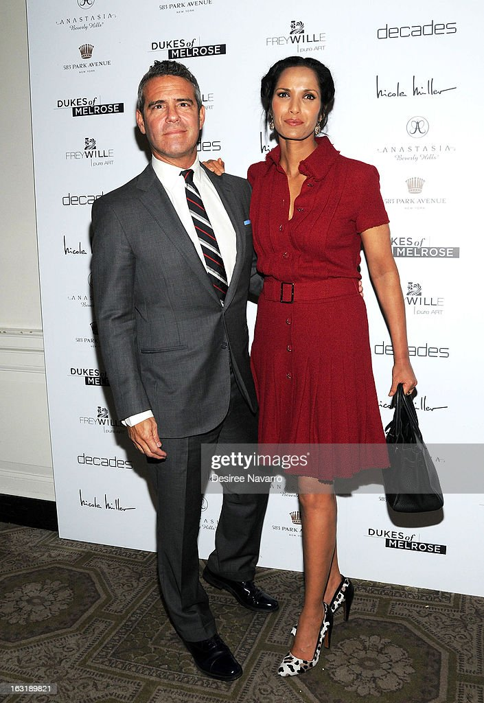 TV Personalities Andy Cohen and <a gi-track='captionPersonalityLinkClicked' href=/galleries/search?phrase=Padma+Lakshmi&family=editorial&specificpeople=201593 ng-click='$event.stopPropagation()'>Padma Lakshmi</a> attend the 'Dukes Of Melrose' Premiere at 583 Park Avenue on March 5, 2013 in New York City.
