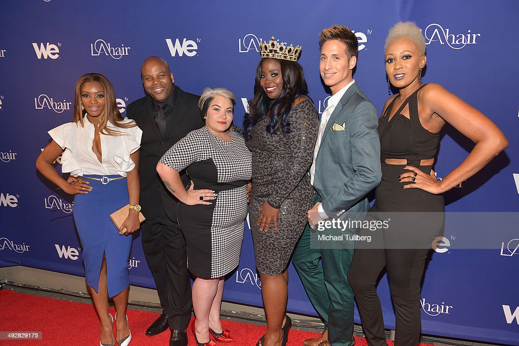 TV personalities Angela Stevens, Terry Hunt, Naja Rickette, Kim Kimble, Anthony Pazos and China Upshaw attend the premiere event for Season 3 of LA tv's 'L.A. Hair' show at Kimble Hair Studio and Extension Bar on May 21, 2014 in Los Angeles, California.