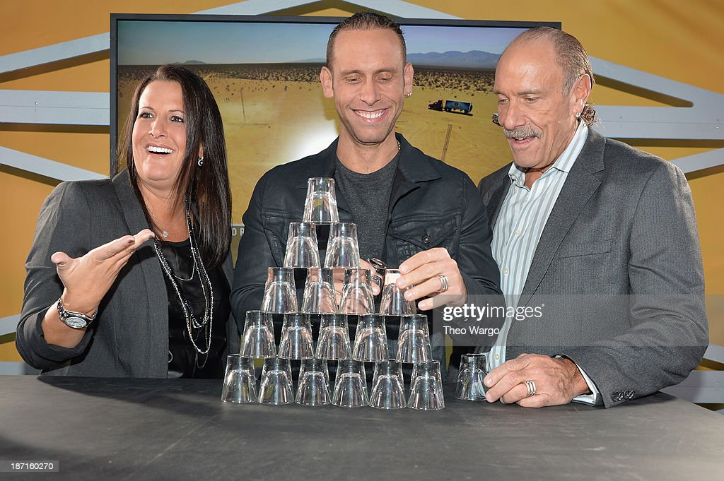 TV personalities Ashley Broad, Seth Gold, and Les Gold participate at the Guinness World Records Unleashed Arena in Times Square on November 6, 2013 in New York City. (Photo by Theo Wargo/WireImage) 24244_003_TW_0186.JPG