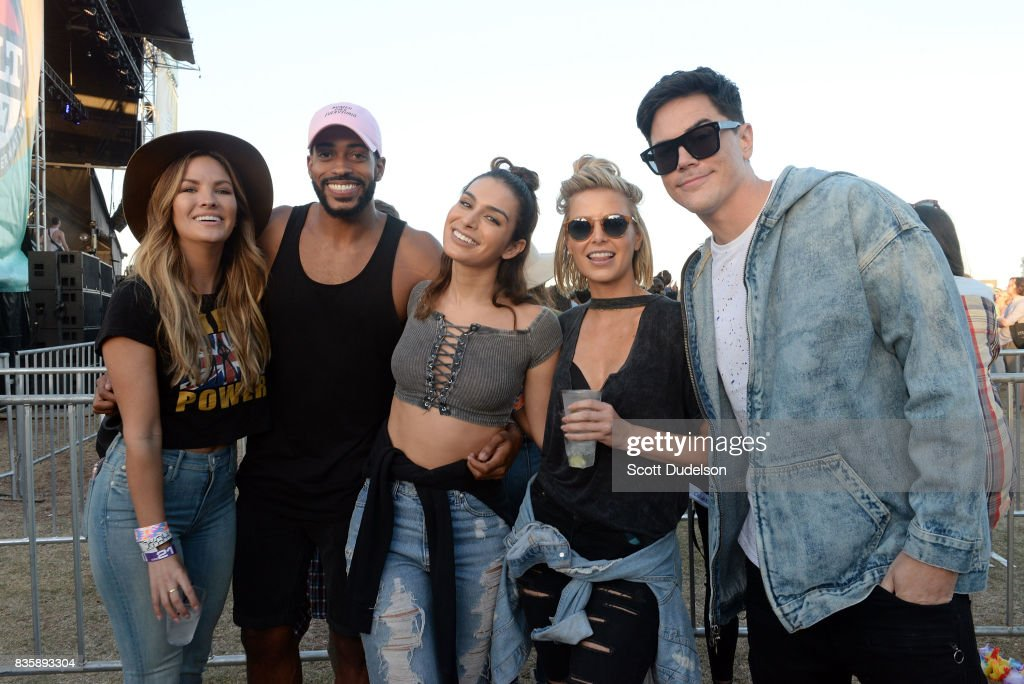 TV personalities Becca Tilley, Eric Bigger and Ashley Iaconetti and Tom Sandoval of The Bachelor attend the Alt 98.7 Summer Camp concert at Queen Mary Events Park on August 19, 2017 in Long Beach, California.