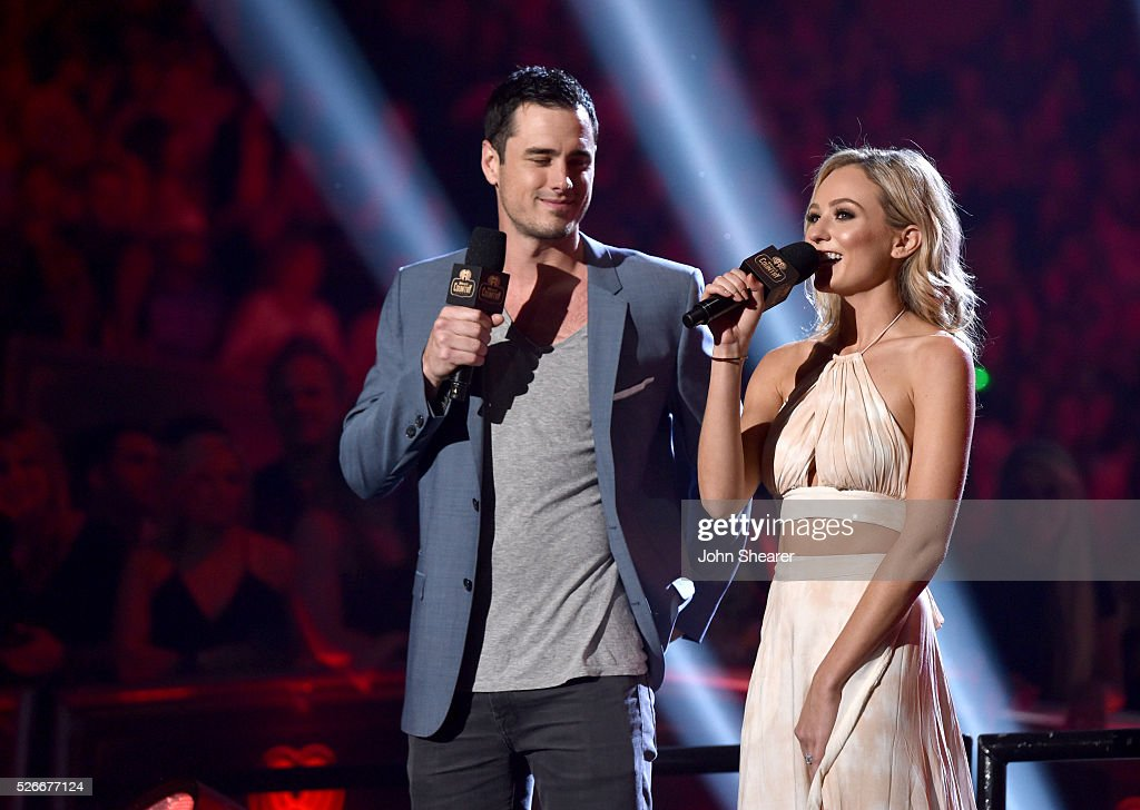 TV personalities Ben Higgins and <a gi-track='captionPersonalityLinkClicked' href=/galleries/search?phrase=Lauren+Bushnell&family=editorial&specificpeople=15535353 ng-click='$event.stopPropagation()'>Lauren Bushnell</a> speak onstage during the 2016 iHeartCountry Festival at The Frank Erwin Center on April 30, 2016 in Austin, Texas.