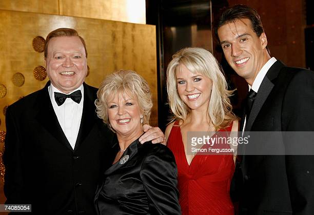 TV personalities Bert Newton his wife Patti Newton Lauren Newton and her husband Matt Welsh arrive at the 2007 TV Week Logie Awards at the Crown...