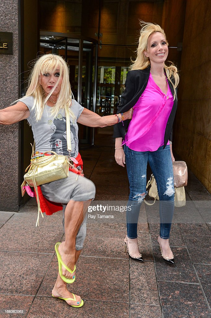 TV personalities Betsey Johnson (L) and Lulu Johnson leave the Sirius XM studios on May 8, 2013 in New York City.