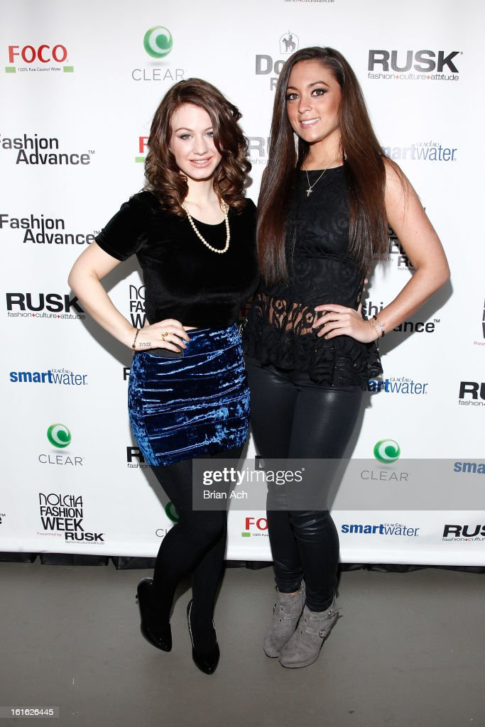 TV personalities Briella Calafiore (L) and Sammi 'Sweetheart' Giancola attend Nolcha Fashion Week New York 2013 presented by RUSK at Pier 59 Studios on February 13, 2013 in New York City.