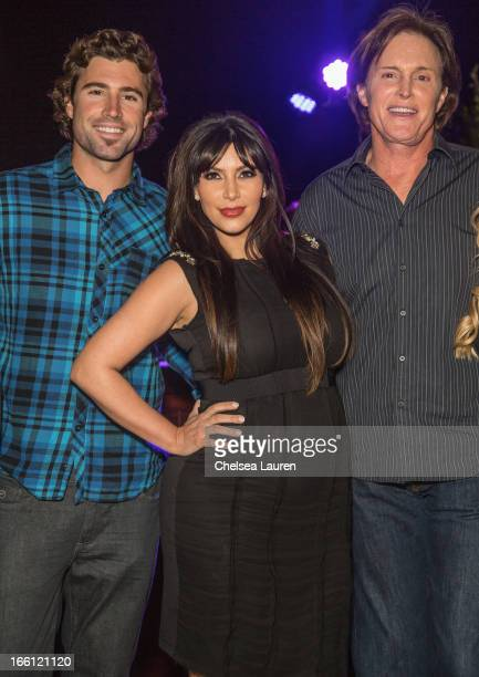 TV personalities Brody Jenner Kim Kardashian and TV Bruce Jenner attend the Brandon and Leah album release party for 'Cronies' on April 8 2013 in Los...