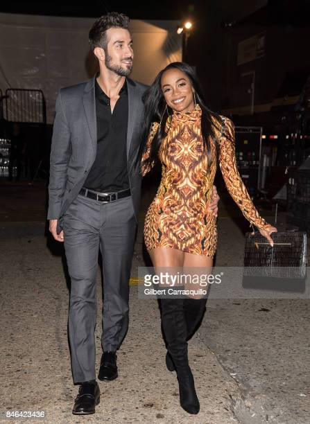 TV personalities Bryan Abasolo and Rachel Lindsay are seen leaving the Blonds fashion show during New York Fashion Week The Shows at Gallery 1...