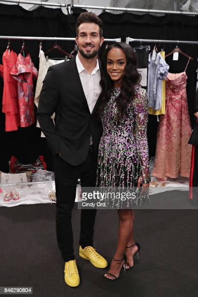 Personalities Bryan Abasolo and Rachel Lindsay pose for a photo backstage at the Badgley Mischka fashion show during September 2017 New York Fashion...