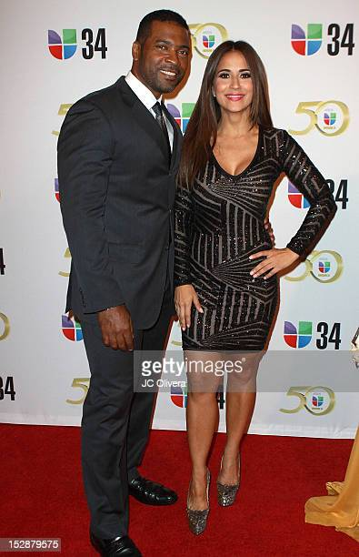 Personalities Carlos Alvarez and Jackie Guerrido attend KMEX Univision 34 50th Anniversary Celebration at The Roosevelt Hotel on September 27 2012 in...