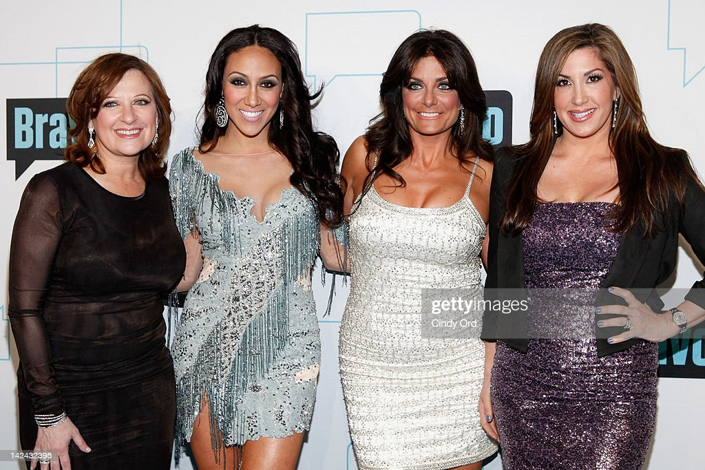 TV personalities <a gi-track='captionPersonalityLinkClicked' href=/galleries/search?phrase=Caroline+Manzo&family=editorial&specificpeople=5841102 ng-click='$event.stopPropagation()'>Caroline Manzo</a>, <a gi-track='captionPersonalityLinkClicked' href=/galleries/search?phrase=Melissa+Gorga&family=editorial&specificpeople=7306775 ng-click='$event.stopPropagation()'>Melissa Gorga</a>, Kathy Wakile and Jacqueline Laurita attend the Bravo Upfront 2012 at Center 548 on April 4, 2012 in New York City.