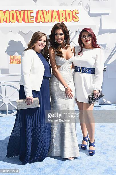 TV personalities Catelynn Lowell Farrah Abraham and Amber Portwood attend The 2015 MTV Movie Awards at Nokia Theatre LA Live on April 12 2015 in Los...