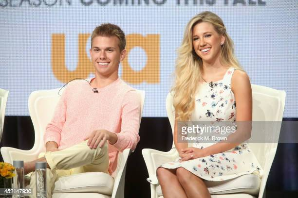 TV personalities Chase Chrisley and Savannah Chrisley speak onstage at the 'Chrisley Knows Best' panel during the NBCUniversal USA Network portion of...