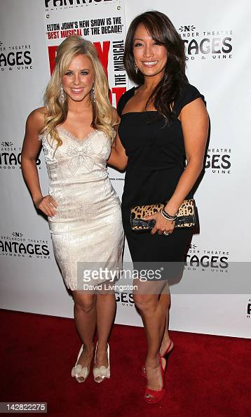 TV personalities Chelsie Hightower and Carrie Ann Inaba attend the opening night of 'Billy Elliot' at the Pantages Theatre on April 12 2012 in...