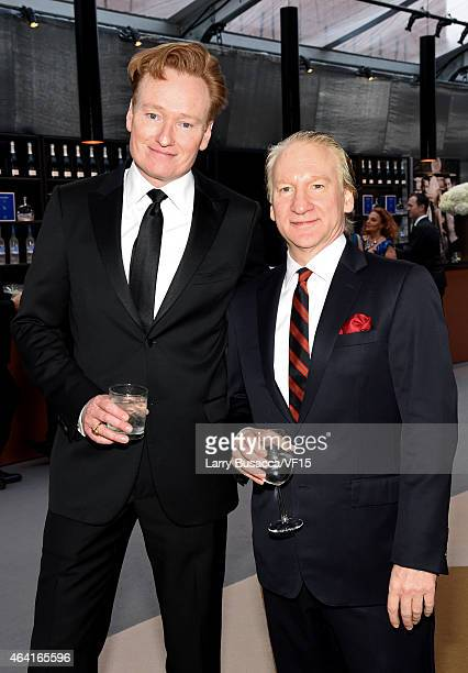 TV personalities Conan O'Brien and Bill Maher attend the 2015 Vanity Fair Oscar Party Viewing Dinner hosted by Graydon Carter at the Wallis Annenberg...