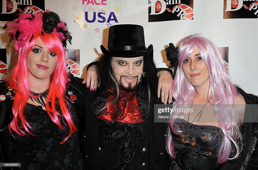 TV personalities Constance Hall Cleve Hall and Alora Hall arrive at SyFy's 'Monster Man' Costume Ball held at Cabo Wabo Cantina on October 16 2013 in...