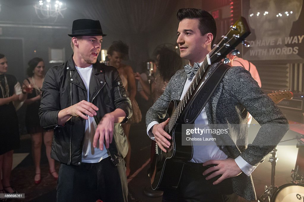 TV personalities / dancers Derek Hough (L) and Mark Ballas are seen on the set of the video shoot for Mark Ballas' debut single 'Get My Name', directed by Derek Hough on April 25, 2014 in Los Angeles, California.
