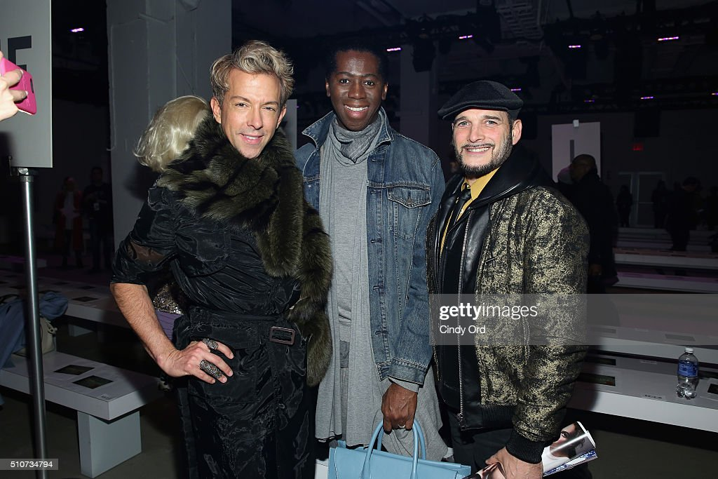 TV Personalities Derek Warburton, Miss J Alexander and Phillip Bloch pose at the Georgine Fall 2016 fashion show during New York Fashion Week: The Shows at The Gallery, Skylight at Clarkson Sq on February 16, 2016 in New York City.