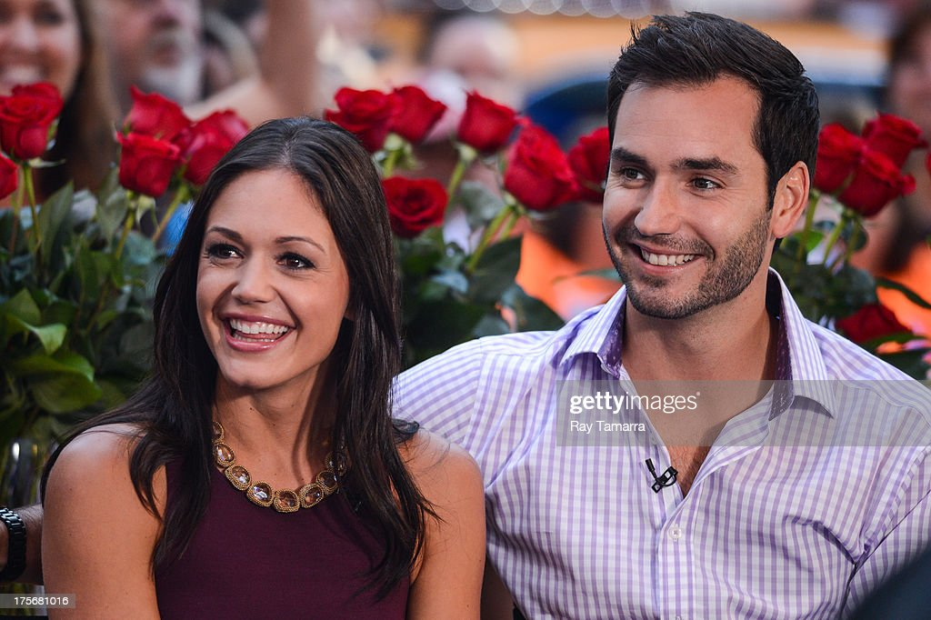 TV personalities Desiree Hartsock (L) and Chris Siegfried tape an interview at 'Good Morning America' at the ABC Times Square Studios on August 6, 2013 in New York City.