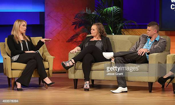 TV personalities Dr Jenn Berman Catelynn Lowell and Tyler Baltierra attend the VH1 'Couples Therapy' With Dr Jenn Reunion at GMT Studios on August 8...
