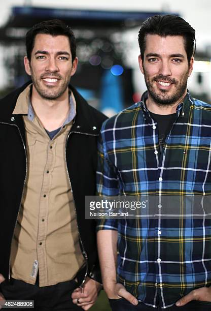 TV personalities Drew Scott and Jonathan Silver Scott attend Day 2 of the DirecTV Super Fan Festival at Pendergast Family Farm on January 29 2015 in...