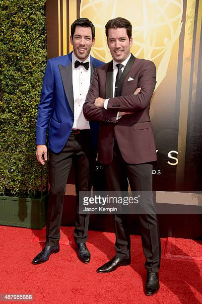 TV personalities Drew Scott and Jonathan Silver Scott attend the 2015 Creative Arts Emmy Awards at Microsoft Theater on September 12 2015 in Los...