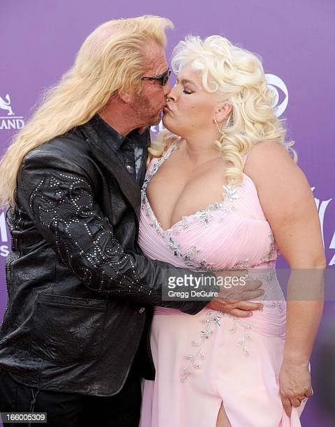 TV personalities Duane Lee 'Dog' Chapman and Beth Chapman of Dog the Bounty Hunter arrives at the 48th Annual Academy Of Country Music Awards at MGM...