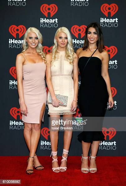 TV Personalities Emily Ferguson Haley Ferguson and Ashley Iaconetti attend the 2016 iHeartRadio Music Festival at TMobile Arena on September 23 2016...