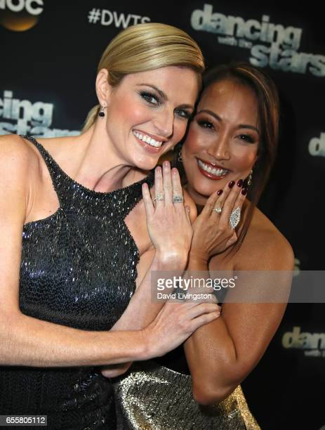 TV personalities Erin Andrews and Carrie Ann Inaba attend 'Dancing with the Stars' Season 24 premiere at CBS Televison City on March 20 2017 in Los...