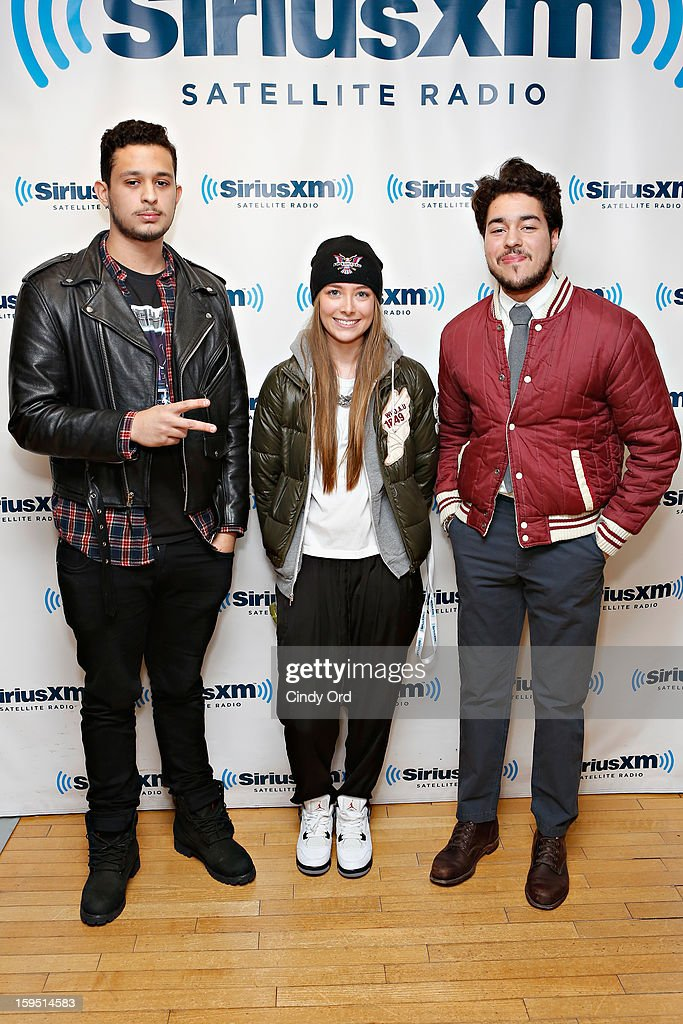 TV personalities Fred Rasuk, Taylor Howell and Ludwin Federo visit the SiriusXM Studios on January 14, 2013 in New York City.