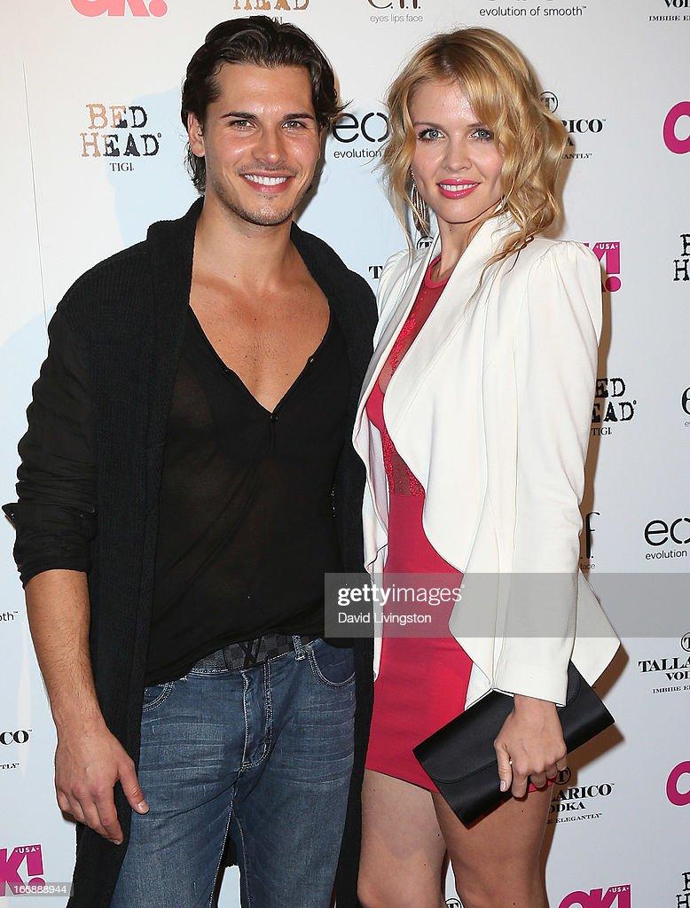 TV personalities Gleb Savchenko (L) and Elena Samodanova attend the OK! Magazine 'So Sexy' LA party at SkyBar at the Mondrian Los Angeles on April 17, 2013 in West Hollywood, California.