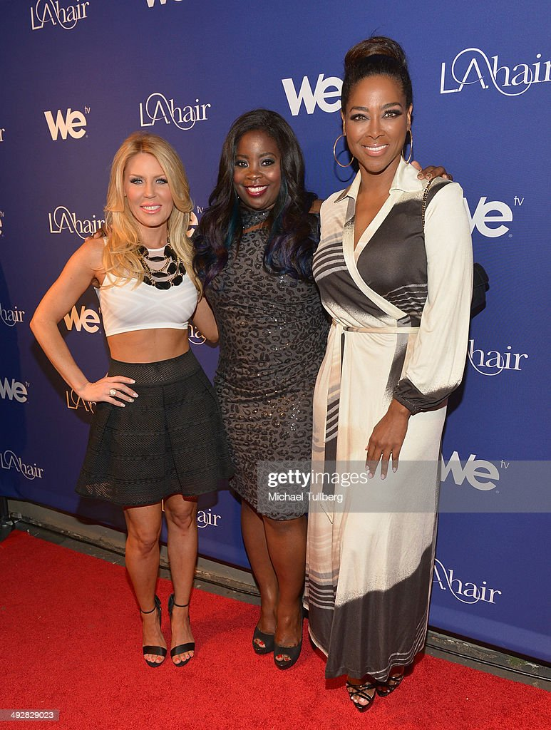 TV personalities <a gi-track='captionPersonalityLinkClicked' href=/galleries/search?phrase=Gretchen+Rossi&family=editorial&specificpeople=5637804 ng-click='$event.stopPropagation()'>Gretchen Rossi</a>, singer Ashly Williams and <a gi-track='captionPersonalityLinkClicked' href=/galleries/search?phrase=Kenya+Moore&family=editorial&specificpeople=678382 ng-click='$event.stopPropagation()'>Kenya Moore</a> attend the premiere event for Season 3 of LA tv's 'L.A. Hair' show at Kimble Hair Studio and Extension Bar on May 21, 2014 in Los Angeles, California.