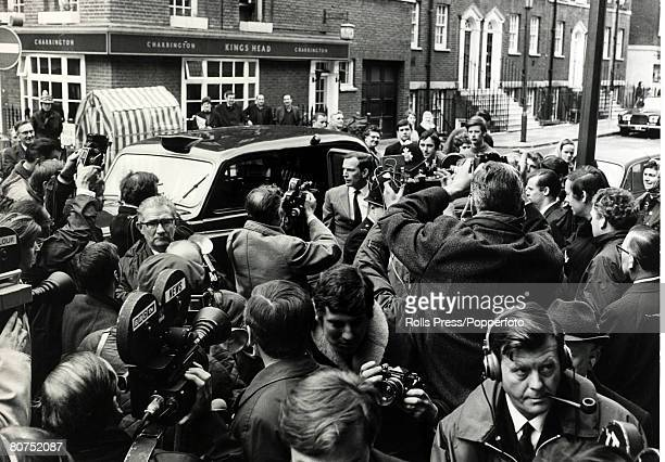 Personalities Health/ Heart Surgery pic 7th May 1968 Dr Christian Barnard arriving at the National Heart Hospital emerges from a taxi to be greeted...