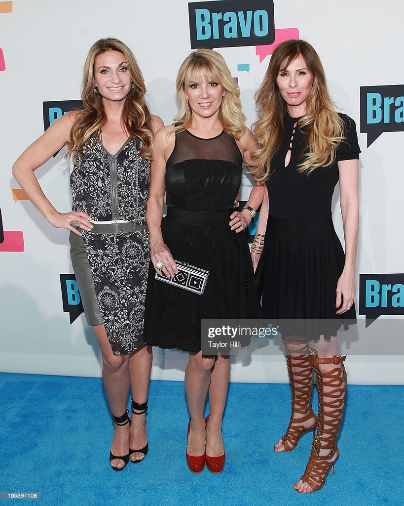 TV personalities Heather Thompson, Ramona Singer, and Carole Radziwill of 'The Real Housewives of New York' attends the 2013 Bravo Upfront at Pillars 37 Studios on April 3, 2013 in New York City.