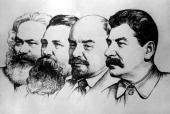 1942 A sketch by Russian artist PVasilev leftright Karl Marx Friedrich Engels Vladimir Ilyich Lenin and Josef Stalin