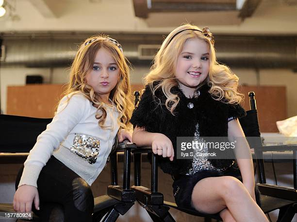 TV personalities Isabella Barrett and Eden Wood backstage during Eden Wood and Isabella Barrett 'LOL' Music video shoot at Picture Ray Studios on...