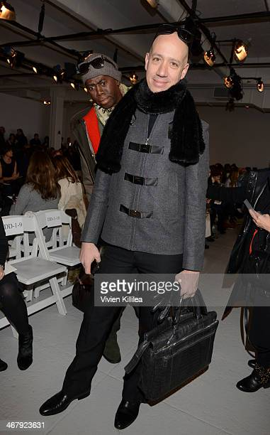 TV personalities J Alexander photobombs Robert Verdi at the Rebecca Taylor fashion show during MercedesBenz Fashion Week Fall 2014 at Center 548 on...