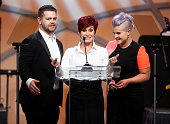 TV personalities Jack Osbourne Sharon Osbourne and Kelly Osbourne speak onstage during the 22nd Annual Race To Erase MS Event at the Hyatt Regency...