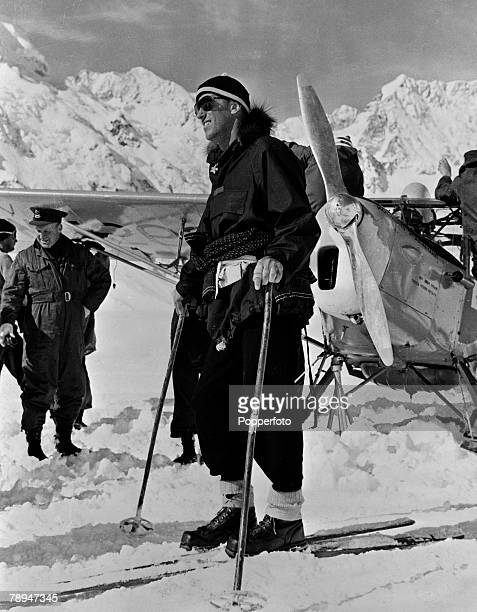Personalities January 1958 New Zealand Mountaineer Sir Edmund Hillary on skis pictured prior to leaving for the South Pole