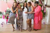 TV personalities Jeannie Mai Adrienne Bailon Tamera MowryHousley Tamar Braxton and Loni Love attend Tamera MowryHousley's baby shower at Casa Del Mar...